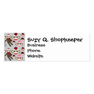 Cute Red and Pink Sock Monkeys Collage Pattern Business Card Templates