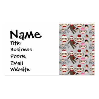 Cute Red and Pink Sock Monkeys Collage Pattern Business Cards