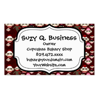 Cute Red and Pink Sock Monkeys Collage Pattern Business Card