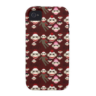 Cute Red and Pink Sock Monkeys Collage Pattern Vibe iPhone 4 Cover