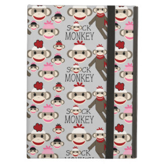 Cute Red and Pink Sock Monkeys Collage Pattern Case For iPad Air