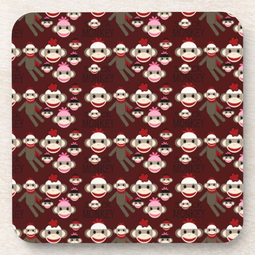 Cute Red and Pink Sock Monkeys Collage Pattern Drink Coaster