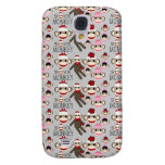 Cute Red and Pink Sock Monkeys Collage Pattern Galaxy S4 Case