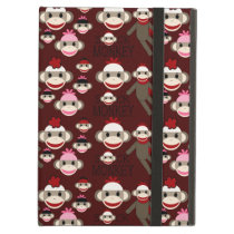 Cute Red and Pink Sock Monkeys Collage Pattern iPad Air Cover