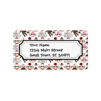 Cute Red and Pink Sock Monkeys Collage Pattern Address Label