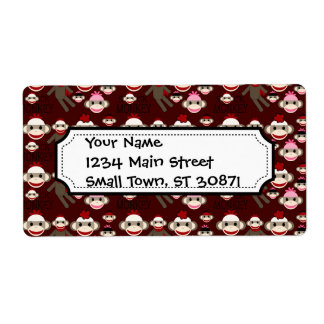 Cute Red and Pink Sock Monkeys Collage Pattern Shipping Label
