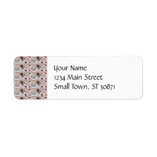 Cute Red and Pink Sock Monkeys Collage Pattern Return Address Label