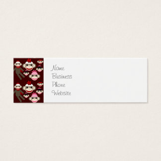 Cute Red and Pink Sock Monkeys Collage Pattern Mini Business Card