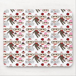 Cute Red and Pink Sock Monkeys Collage Pattern Mouse Pad