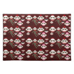 Cute Red and Pink Sock Monkeys Collage Pattern Place Mat