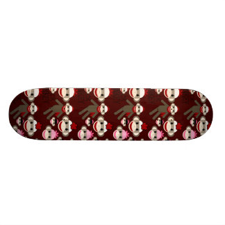 Cute Red and Pink Sock Monkeys Collage Pattern Skate Board Decks