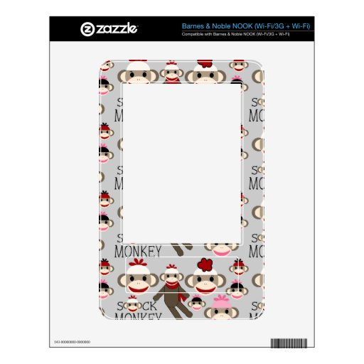 Cute Red and Pink Sock Monkeys Collage Pattern Decal For NOOK