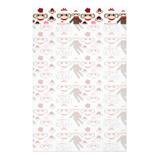 Cute Red and Pink Sock Monkeys Collage Pattern Customized Stationery
