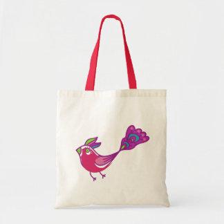 Cute Red And Purple Retro Bird Tote Bag