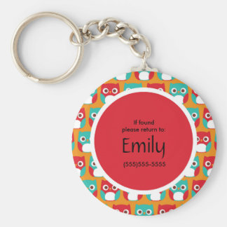 Cute Red and Teal Owls on Orange Personalized Keychain