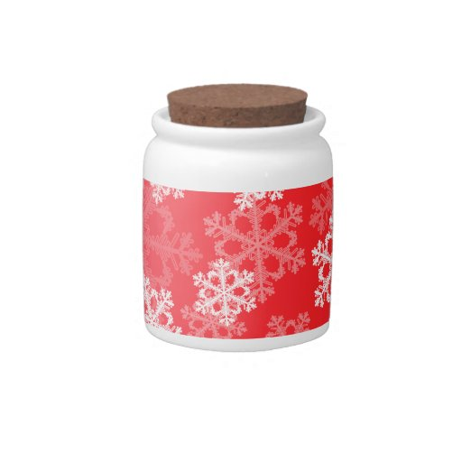 Cute red and white Christmas snowflakes Candy Jars
