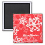 Cute red and white Christmas snowflakes Fridge Magnets