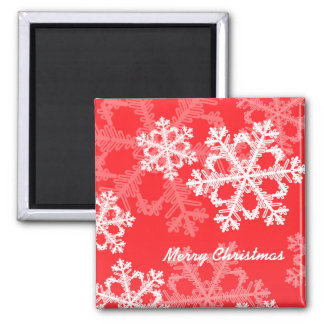 Cute red and white Christmas snowflakes 2 Inch Square Magnet