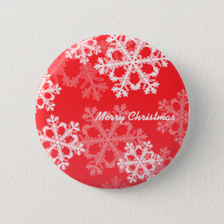 Cute red and white Christmas snowflakes Pinback Button