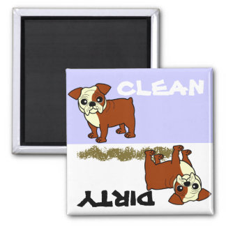Cute Red and White Coat Bulldog Cartoon 2 Inch Square Magnet