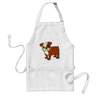Cute Red and White Coat Bulldog Cartoon Adult Apron