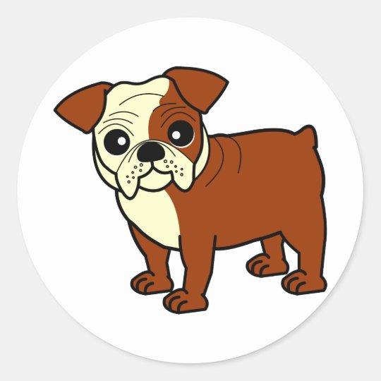 Cute Red and White Coat Bulldog Cartoon Classic Round Sticker