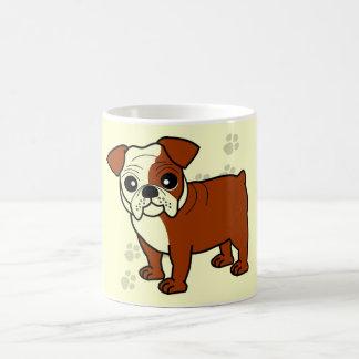 Cute Red and White Coat Bulldog Cartoon Coffee Mug