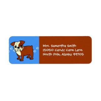 Cute Red and White Coat Bulldog Cartoon Label