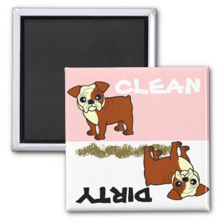 Cute Red and White Coat Bulldog Cartoon Magnet