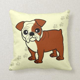 Cute Red and White Coat Bulldog Cartoon Pillow