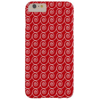 Cute Red and White Curlie Cues Pattern Barely There iPhone 6 Plus Case