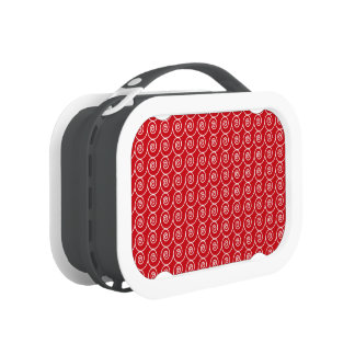 Cute Red and White Curlie Cues Pattern Yubo Lunch Boxes