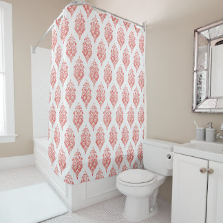 Cute red and white damask ikat tribal patterns shower curtain