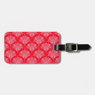 Cute Red and White Floral Damask Pattern Luggage Tag
