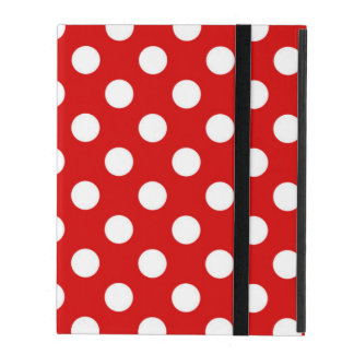 Cute Red And White Polka Dot Pattern Design iPad Folio Cases