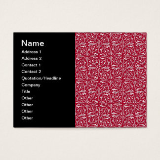 Cute Red and White Swirling Vines Pattern Business Card
