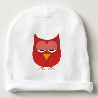 Cute Red And Yellow Cartoon Owl Baby Beanie