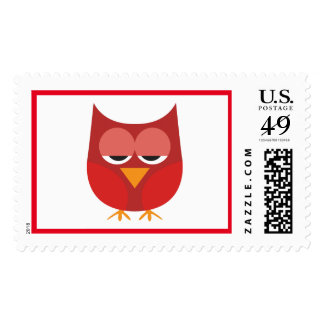 Cute Red And Yellow Cartoon Owl Postage