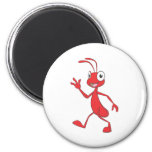 Cute Red Ant Walking Waving Hand Hi Hello Fridge Magnet