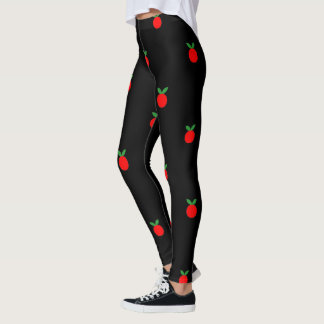 Cute red apple fruit print on black leggings