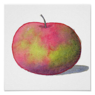Cute Red Apple Painting Poster