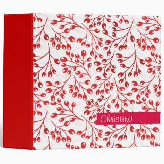 Cute red autumn berries 3 ring binder