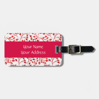 Cute red autumn berries tags for bags