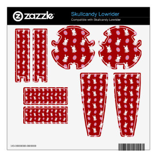 Cute red baby bunny easter pattern skullcandy lowrider decal