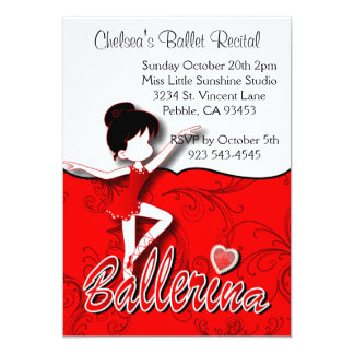 Cute Red Ballerina Girl | Ballet Dance Recital Card
