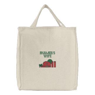 Cute Red Barn Farm Yard Design Embroidered Bags
