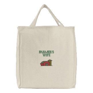 Cute Red Barn Farm Yard Design Embroidered Tote Bags