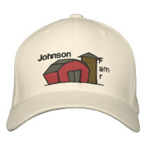 Cute Red Barn & Farm Yard Design Embroidered Baseball Hat