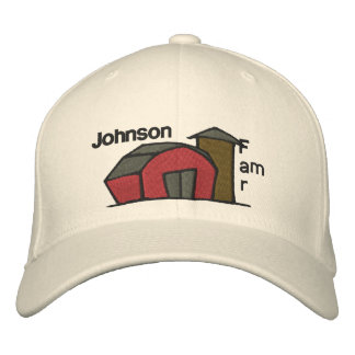 Cute Red Barn & Farm Yard Design Embroidered Baseball Hat