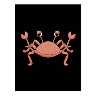 Cute Red Beach Crab Cartoon Character Design Postcard